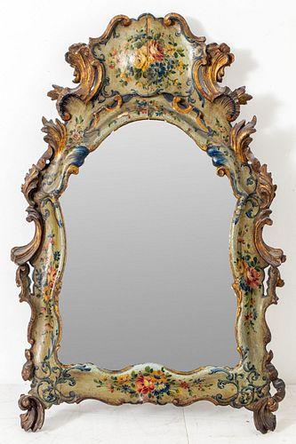 Northern Italian Parcel Gilt Painted Mirror