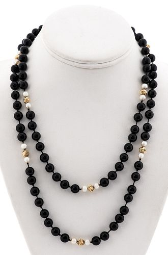 14K Yellow Gold Onyx & Pearl Beaded Necklace