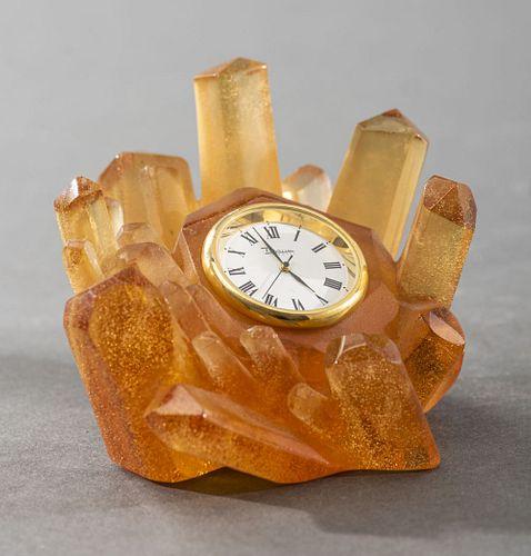 Daum Pate de Verre Art Glass Desk Clock