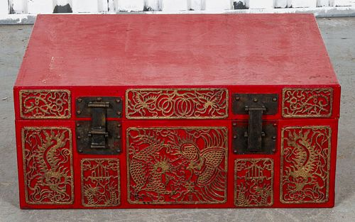 Chinese Red Storage Trunk With Gilt Medallions