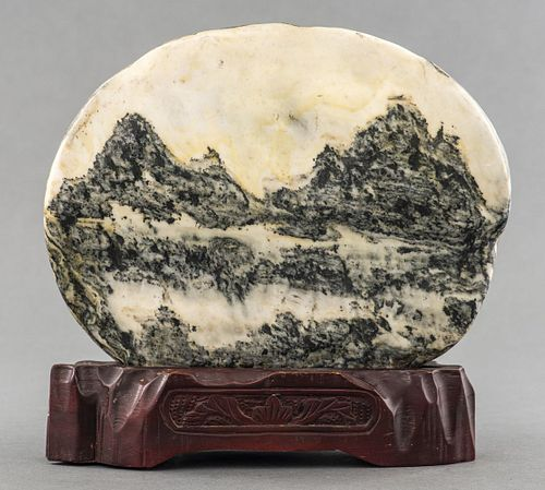 Chinese Natural Dreamstone on Wood Stand