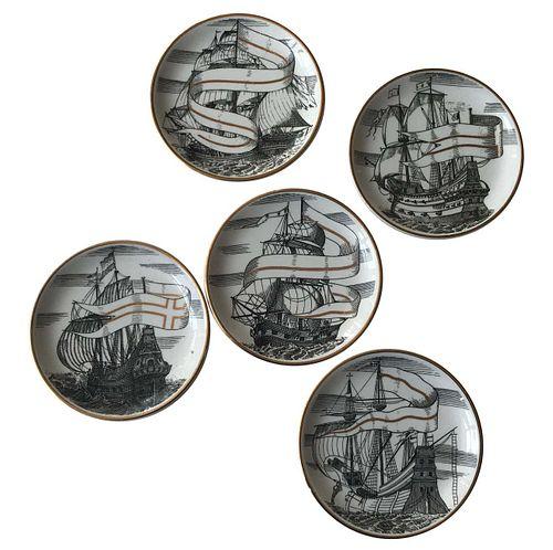 Piero Fornasetti Set of Five Italian Porcelain Coasters