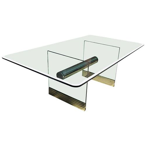 Monumental Long Glass and Brass Pace Dining Table or
