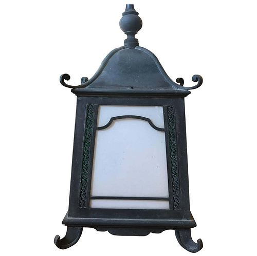 Chinoiserie Pagoda Style Hanging Copper Verdigris