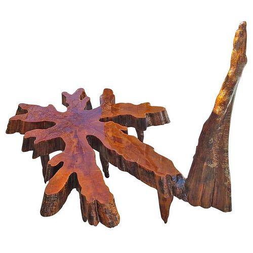 Organic Sculptural Live Edge Cypress Slab Coffee Table