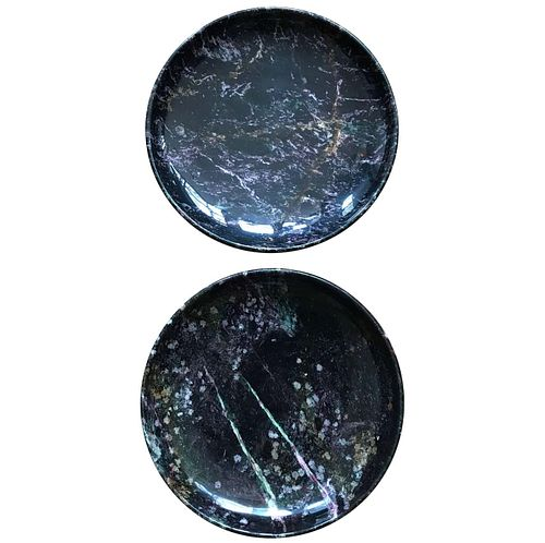Pair of Black Marble Italian Centerpiece Bowls by Up &