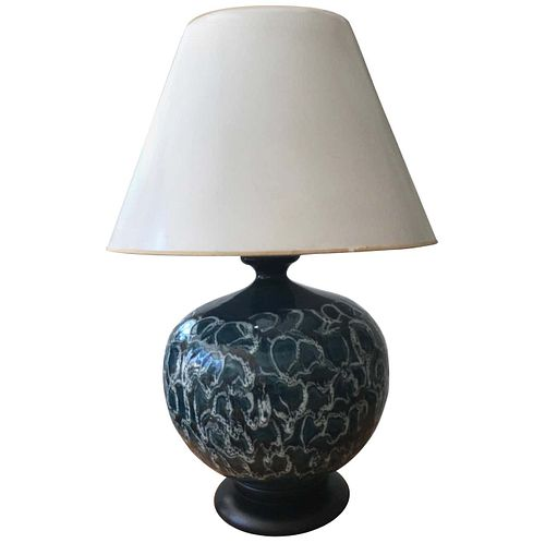 Monumental Drip Glaze Ceramic Gourd Shaped Lamp