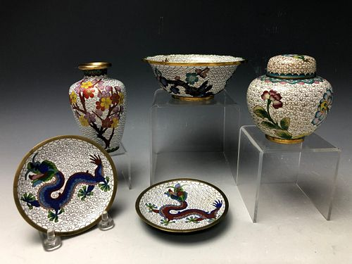 A Group of 5 White Ground Cloisonne Pieces Bowl