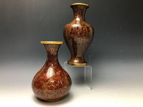 2 Chrysanthemum Patterned Cloisonne Vases