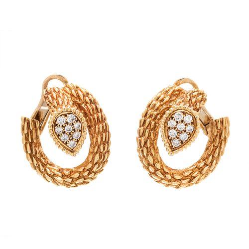 BOUCHERON, YELLOW GOLD AND DIAMOND 'SERPENT BOHÈME' EARCLIPS