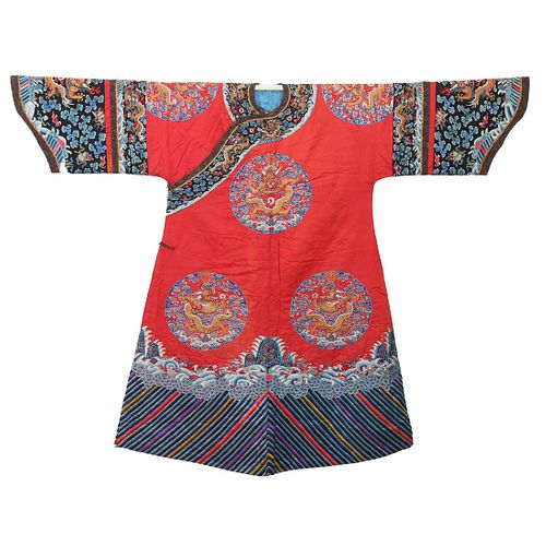 A RED-GROUND EMBROIDERED 'DRAGONS' ROBE