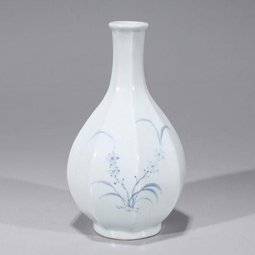 Korean Blue & White Porcelain Faceted Vase