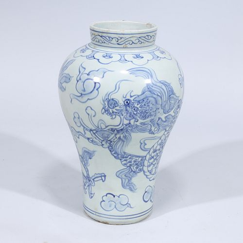 Large Korean Blue & White Porcelain Dragon Jar