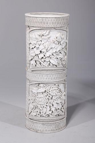 Elaborate Chinese Bisque Porcelain Brush Pot