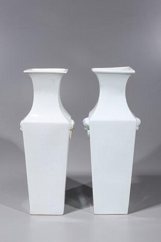 Pair Chinese White Porcelain Vases