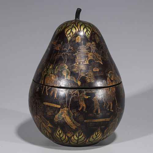 Chinese Lacquer Gourd Form Covered Box