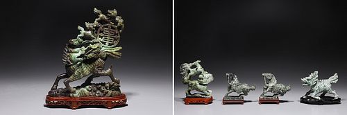 Group of Five Chinese Hardstone Carvings