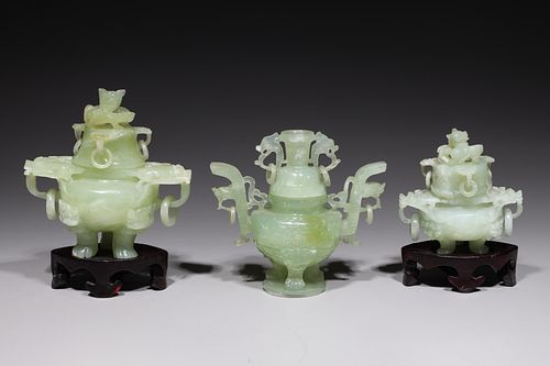 Group of Three Chinese Carved Covered Vessels