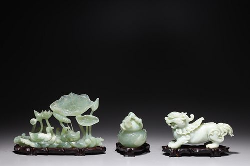 Group of Three Chinese Hardstone Carvings