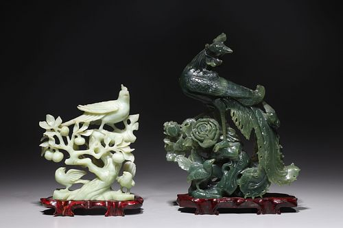 Two Chinese Carved Hardstone Phoenix Birds