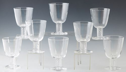 Set of Eight Steuben Airtwist Glass Spiral Stem Red Wine Goblets , designed by George Thompson in 1950, with etched Steuben signature on the underside