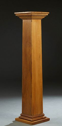 Carved Cypress Tall Pedestal, 20th c., New Orleans, the stepped square top over a tapered square support, to a stepped square base, H.- 61 1/2 in., W.