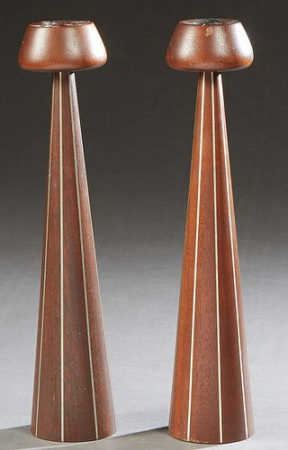Paul Evans (1931-1987) and Phil Powell (1919-2008), Pair of Pewter Inlaid Turned Walnut Candlesticks, 1960's, by Designers Inc., New Hope, PA, H.- 13