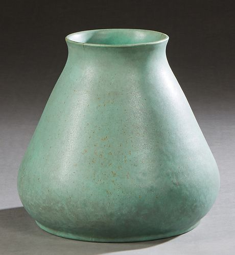 Teco Pottery Green Glazed Ceramic Baluster Vase, early 20th c., of tapered form, with an impressed mark on the underside, H.- 9 1/4 in., Dia.- 10 1/2
