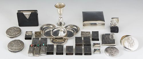 """Group of Thirty-four Pieces of Miscellaneous Sterling, consisting of a double jigger engraved """"Suzanne"""" and """"John;"""" 11 matchbox holders; a mahogany li"""