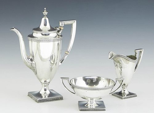 """Three Piece Sterling Coffee Service, by Gorham, # 9811, in the """"Etruscan"""" pattern, consisting of a coffee pot, creamer and open sugar bowl, each with"""