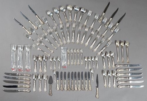 Ninety-Two Piece Set of Sterling Flatware, by Reed and Barton, in the Francis I pattern, consisting of 14 dinner forks, 12 teaspoons, 9 salad forks, 6