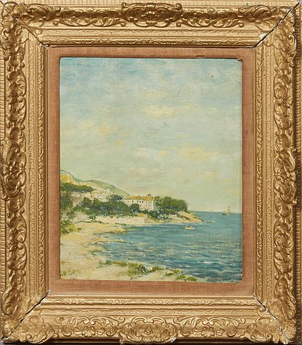 """Eugene Boudin (1824-1898, French), """"Coastal Scene,"""" 19th c., oil on board, signed lower left, presented in a gilt and gesso frame, H.- 10 ½ in., W.- 8"""