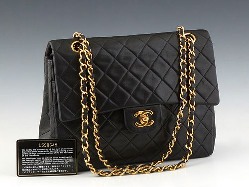 Chanel Double Square Flap 26 Shoulder Bag, in black quilted caviar calf leather with gold hardware, opening to a maroon leather lined interior, accomp