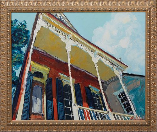 """James Michalopoulos (1951-, Pennsylvania/New Orleans), """"New Orleans House,"""" 21st c., oil on canvas, signed lower right, presented in a gilt frame, H.-"""
