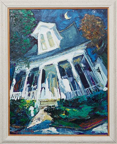 """James Michalopoulos (1951-, Pennsylvania/New Orleans), """"New Orleans Center Hall Cottage,"""" 1998, oil on canvas, signed lower left, signed and dated en"""