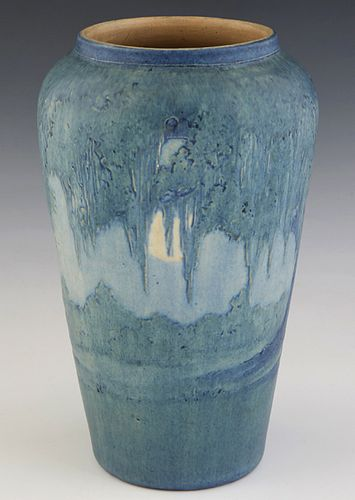 Newcomb College Art Pottery Baluster Vase, 1921, by Anna Frances Simpson, in the Moon and Moss motif, matte glaze, the under side with the Newcomb log