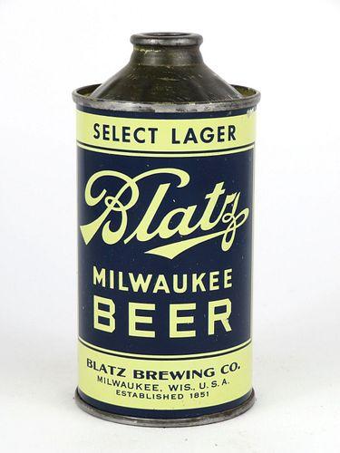 1939 Blatz Milwaukee Beer 12oz Low Profile Cone Top 153-13