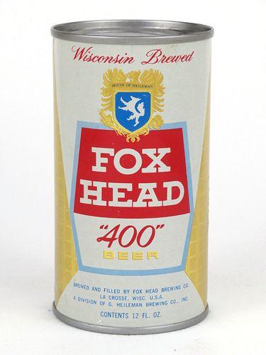 """1962 Fox Head """"400"""" Beer 12oz Flat Top 65-33"""
