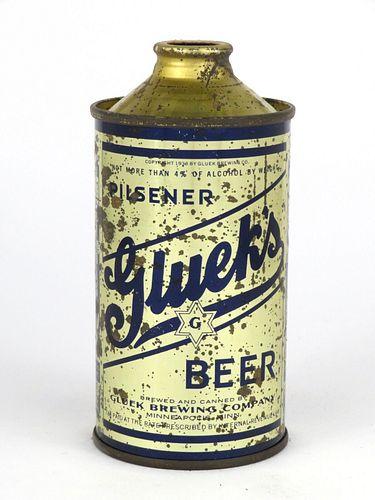 1946 Gluek's Beer 12oz Low Profile Cone Top 165-08