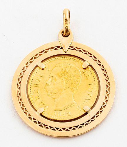 Italian 22K 1882 Gold Coin 18K Yellow Gold Pendant