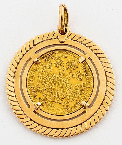 1915 22K French Franc Gold Coin 18K Gold Pendant