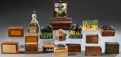Group of Seventeen Religious Collection Boxes, 19th and early 20th c., made of wood and papier mache, many from the Methodist church, intended for var