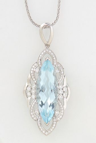 Platinum Pendant, with a 10.58 carat marquise aquamarine, atop a pierced border mounted with round diamonds, on a tiny platinum twisted link chain, to
