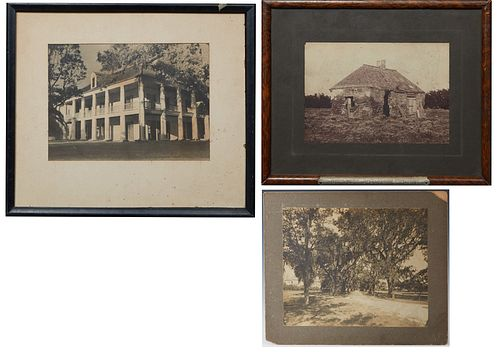 Three Louisiana Silver Gelatin Photographs, early 20th c., one of the Rene Beauregard Chalmette Plantation house, framed, H.- 10 in., W.- 13 1/2 in.;