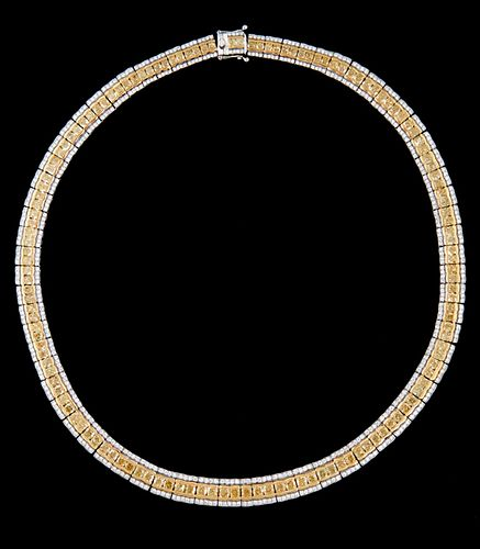 18K White Gold Link Necklace, each of the seventy graduated rectangular links with two central yellow round diamonds, flanked by borders of small roun
