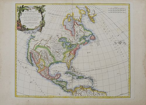 """Map- Robert de Vaugondy (1723-1786, French) """"Amerique Septentrionale,"""" 1750, hand colored, with a cartouche of Tropical plants, natives and wildlife s"""
