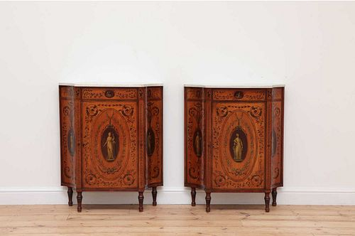 A pair of George III satinwood and crossbanded pier cabinets,