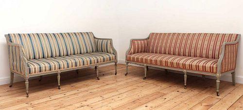 A pair of George III settees