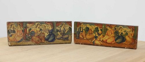 A pair of naive pictures of seated figures,