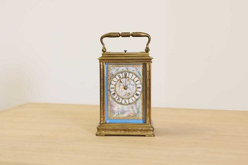 A French brass cased carriage clock,